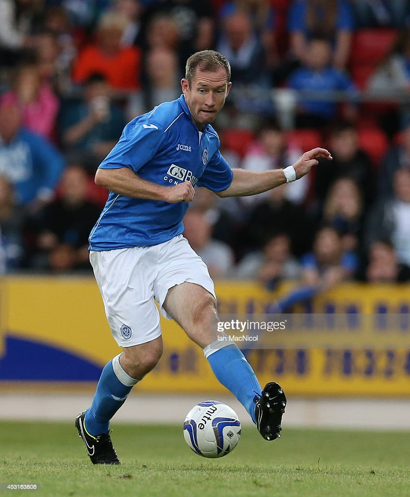 Fraser Wright ofSt Johnstonee controls the ball during the UEFA Europa League Third Qualifying Round, First Leg match between St Johnstone and Spartak Trnava, at McDiarmid Park on July 31, 2014 Perth, Scotland.