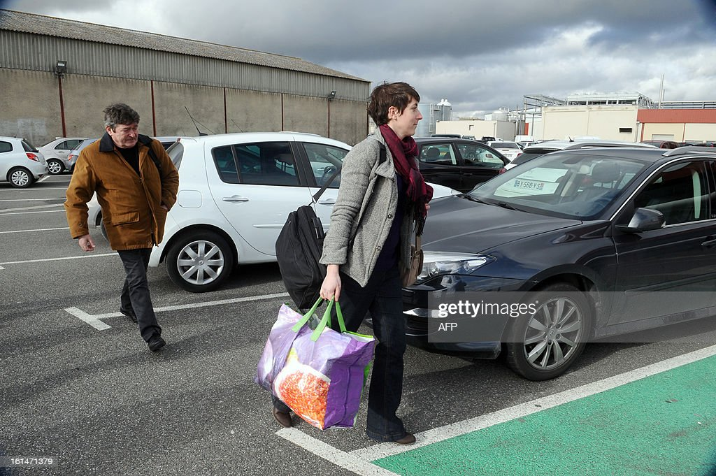 Fraud controllers of French Directorate General for Competition, Consumer Affairs and Repression of Fraud (DGCCRF), Michel Martin (L), arrives at the French meat supplier Spanghero's headquarters for a control, on February 11, 2013 in Castelnaudary, southern France. The Europe-wide scandal over horsemeat sold as beef spread on February 10 as leading French retailers pulled products from their shelves and threats of legal action flew. The suspect lasagne meals sold by Swedish frozen food giant Findus in Britain were made by French company Comigel using meat supplied by French meat-processing firm Spanghero. Aguerre declared that Spanghero respected the law.