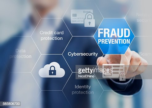 Fraud prevention button, concept about cybersecurity and credit card protection : Stock Photo