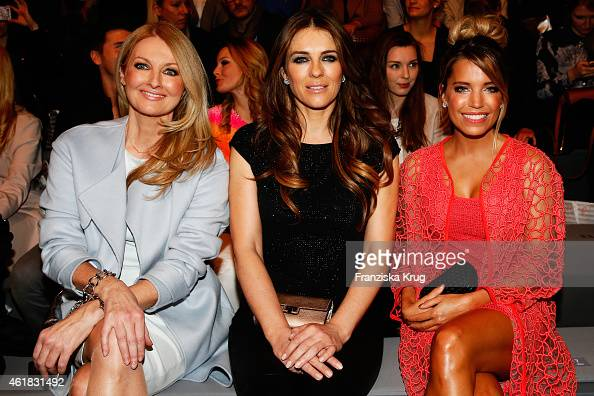 Frauke Ludowig Elizabeth Hurley and Sylvie Meis attend the Marc Cain show during the MercedesBenz Fashion Week Berlin Autumn/Winter 2015/16 at...