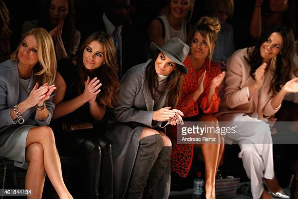 Frauke Ludowig Elizabeth Hurley Katie Holmes Sylvie Meis and Bettina Zimmermann attend the Marc Cain show during the MercedesBenz Fashion Week Berlin...