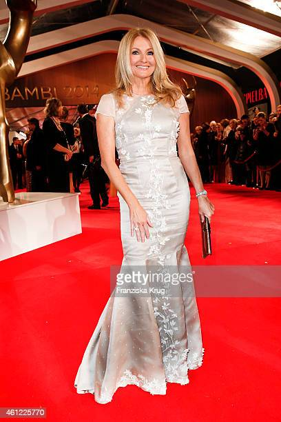 Frauke Ludowig wearing a dress by MeissenCouture arrives at the Bambi Awards 2014 on November 13 2014 in Berlin Germany