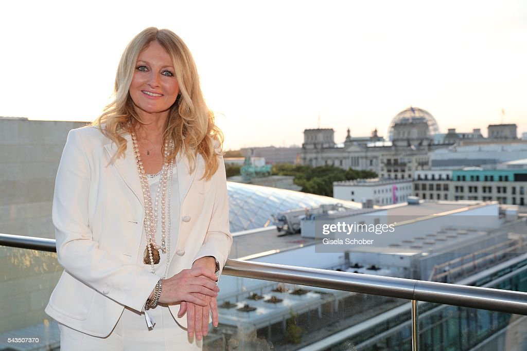 Frauke Ludowig , wearing a suit by Marc Cain during the after party of the Marc Cain fashion show spring/summer 2017 at China Club on June 28, 2016 in Berlin, Germany.