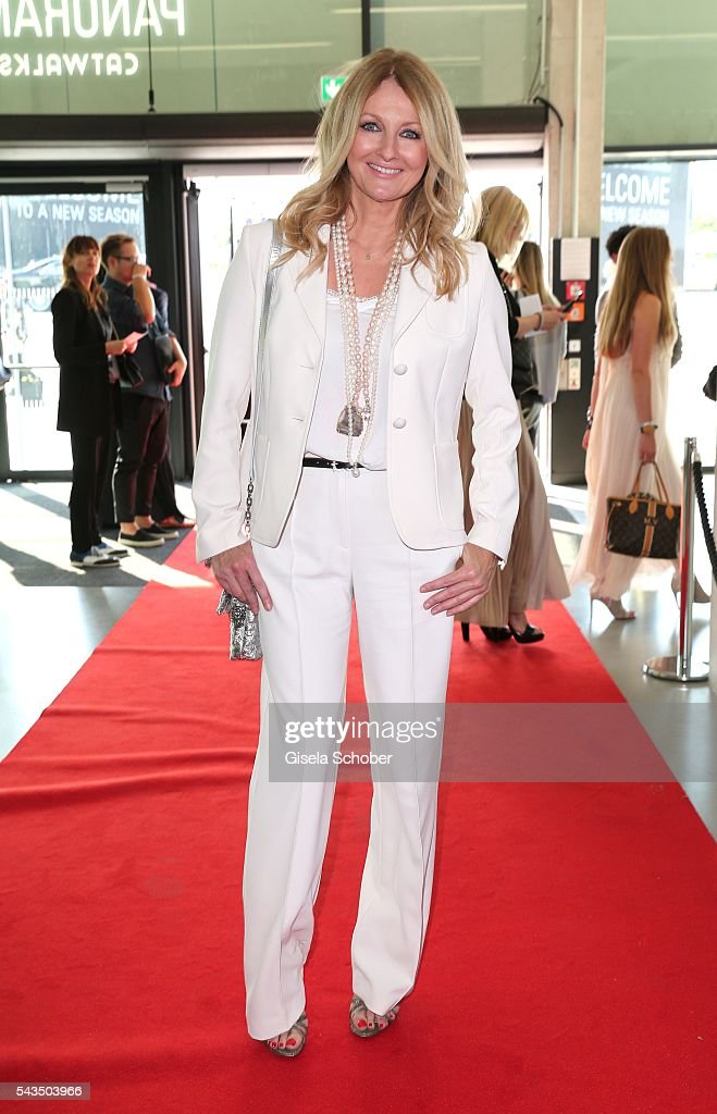 Frauke Ludowig, wearing a suit by Marc Cain during the Marc Cain fashion show spring/summer 2017 at CITY CUBE Panorama Bar on June 28, 2016 in Berlin, Germany.
