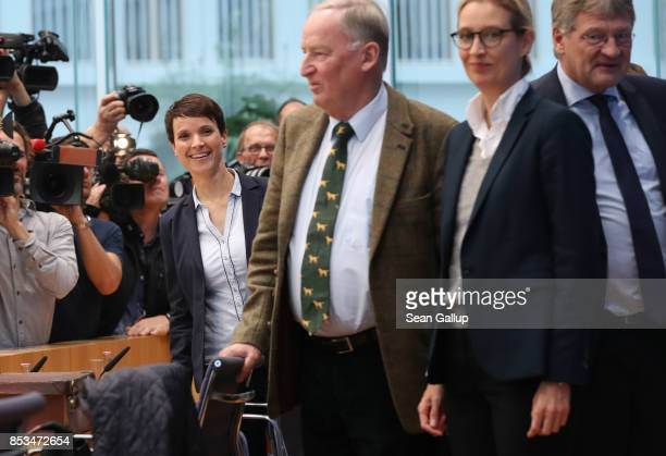 Frauke Petry a leading member of the rightwing Alternative for Germany arrives with other leading AfD members Alexander Gauland Alice Weidel and...