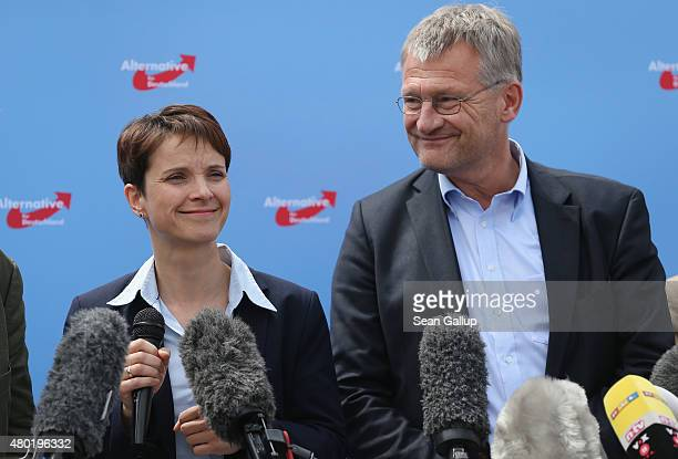 Frauke Petry and Joerg Meuthen the new cospeakers and main leaders of the Alternative fuer Deutschland political party speak to the media at AfD...