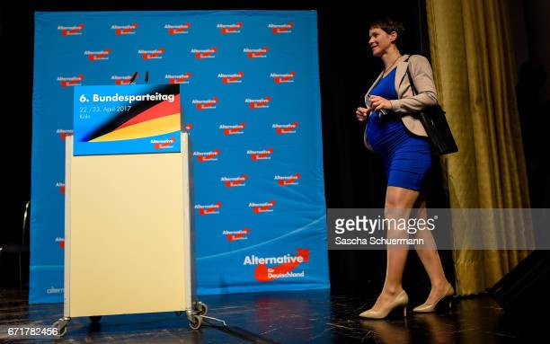 Frauke Petry Chairwoman of the AfD looks on at the podium during the federal congress of the rightwing populist Alternative for Germany political...