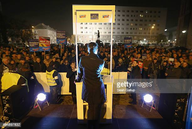 Frauke Petry Chairwoman of the AfD political party speaks to supporters atan AfD rally on October 29 2015 in Dessau Germany The AfD which has seen...