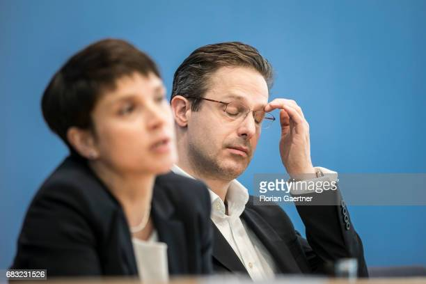 Frauke Petry Chairwoman of the Alternative fuer Deutschland political party is captured in front of Marcus Pretzell Alternative fuer Deutschland...