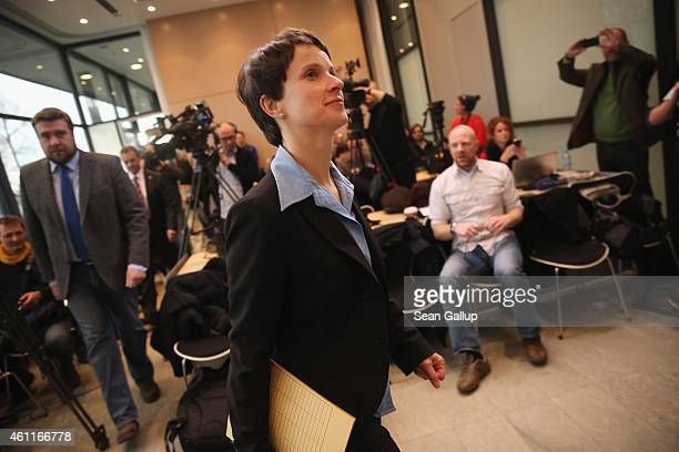 Frauke Petry Chairwoman of the Saxony branch of the AfD political party arrives to speak to the media at the Saxony State Parliament on January 8...