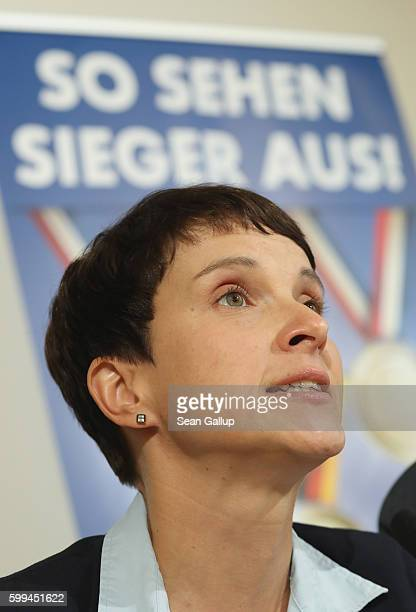 Frauke Petry cohead of the Alternative fuer Deutschland political party speaks at a press conference under a banner that reads 'This is what winners...