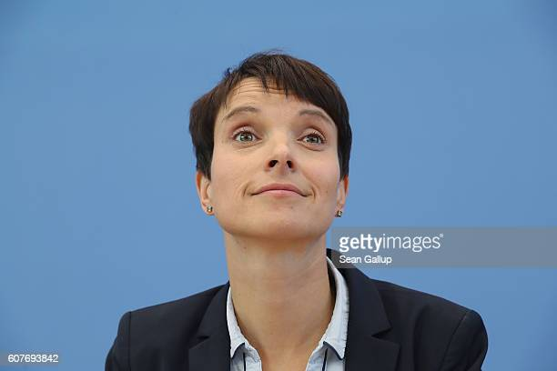 Frauke Petry cohead of the Alternative fuer Deutschland political party arrives to speak to the media the day after Berlin state elections on...
