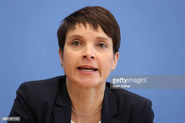 Frauke Petry cohead the rightwing populist Alternative for Germany political party speaks to the media the day after state elections in North...