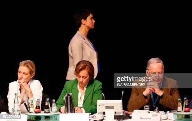 Frauke Petry coleader of Germany's rightwing populist Alternative for Germany walks past her party colleagues and AfD executive board members Alice...
