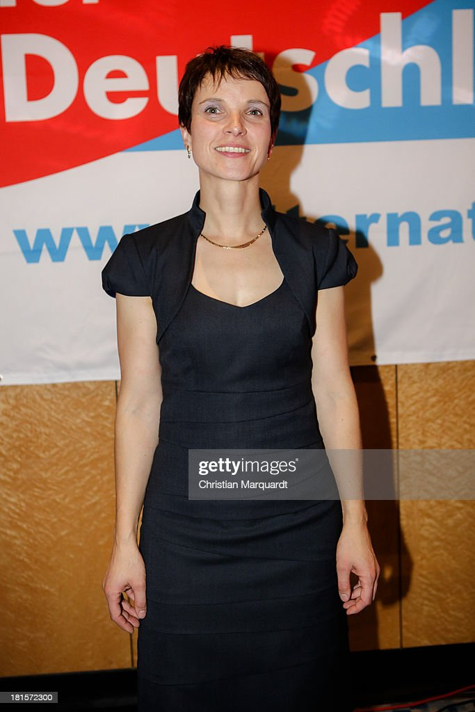 <a gi-track='captionPersonalityLinkClicked' href=/galleries/search?phrase=Frauke+Petry&family=editorial&specificpeople=10828161 ng-click='$event.stopPropagation()'>Frauke Petry</a>, cospokeswoman for Alternative fuer Deutschland (AfD) poses during the headquarter party on September 22, 2013 in Berlin, Germany. Germany is holding federal elections that will determine whether current Chancellor Angela Merkel of the German Christian Democrats (CDU) will remain for a third term. Though the CDU has a strong lead over the opposition, speculations run wide as to what coalition will be viable in coming weeks to create a new government.