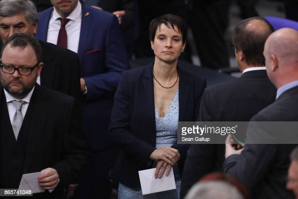 Frauke Petry formerly of the rightwing Alternative for Germany and now an independent attends the opening session of the new Bundestag on October 24...