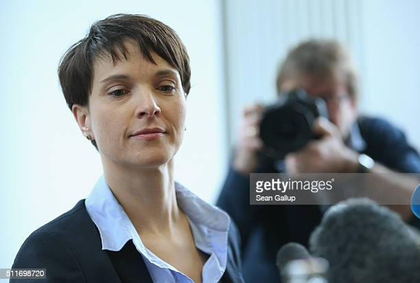 Frauke Petry head of the AfD political party arrives to speak to the foreign journalists' association on February 22 2016 in Berlin Germany The AfD...