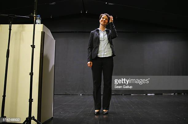 Frauke Petry head of the AfD political party finishes speaking to supporters at an AfD BadenWuerttemberg state election campaign gathering on March 7...