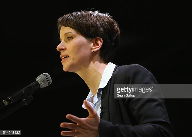 Frauke Petry head of the AfD political party speaks to supporters at an AfD BadenWuerttemberg state election campaign gathering on March 7 2016 in...
