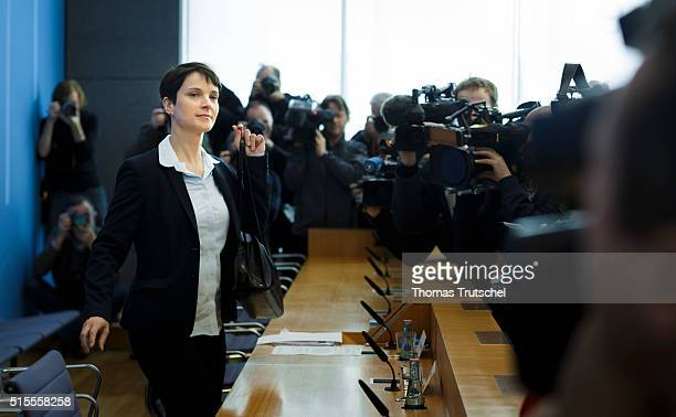 Frauke Petry head of the Alternative fuer Deutschland political party arrives for a press conferene at Bundespressekonferenz on March 14 2016 in...