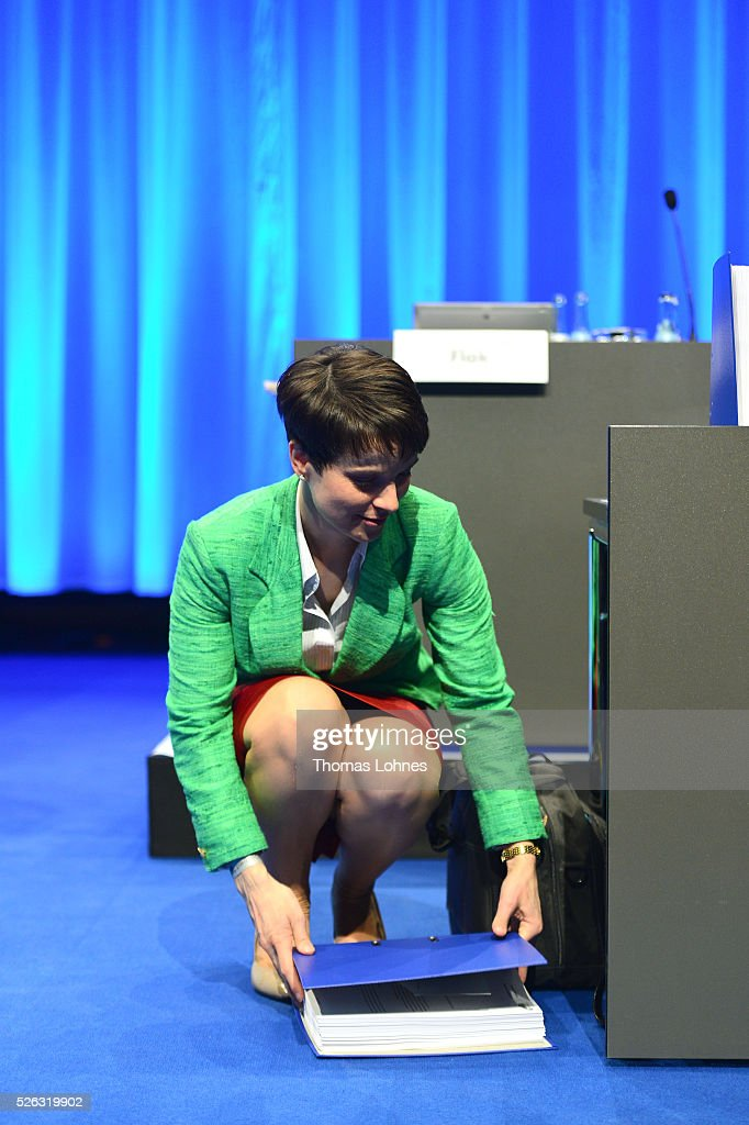 Frauke Petry, head of the Alternative fuer Deutschland (AfD) political party pictured at the party's federal congress on April 30, 2016 in Stuttgart, Germany. The AfD, a relative newcomer to the German political landscape, has emerged from Euro-sceptic conservatism towards a more right-wing leaning appeal based in large part on opposition to Germany's generous refugees and migrants policy. Since winning seats in March elections in three German state parliaments the party has sharpened its tone, calling for a ban on minarets and claiming that Islam does not belong in Germany.