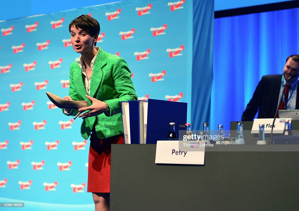Frauke Petry, head of the Alternative fuer Deutschland (AfD) political party holds her at the party's federal congress on April 30, 2016 in Stuttgart, Germany. The AfD, a relative newcomer to the German political landscape, has emerged from Euro-sceptic conservatism towards a more right-wing leaning appeal based in large part on opposition to Germany's generous refugees and migrants policy. Since winning seats in March elections in three German state parliaments the party has sharpened its tone, calling for a ban on minarets and claiming that Islam does not belong in Germany.