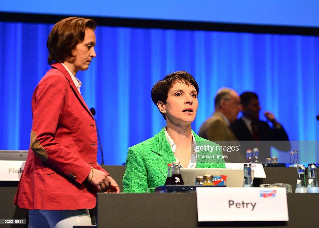 Frauke Petry (R), head of the Alternative fuer Deutschland (AfD) political party, and AfD co-deputy head Beatrix von Storch (L) pictured at the party's federal congress on April 30, 2016 in Stuttgart, Germany. The AfD, a relative newcomer to the German political landscape, has emerged from Euro-sceptic conservatism towards a more right-wing leaning appeal based in large part on opposition to Germany's generous refugees and migrants policy. Since winning seats in March elections in three German state parliaments the party has sharpened its tone, calling for a ban on minarets and claiming that Islam does not belong in Germany.