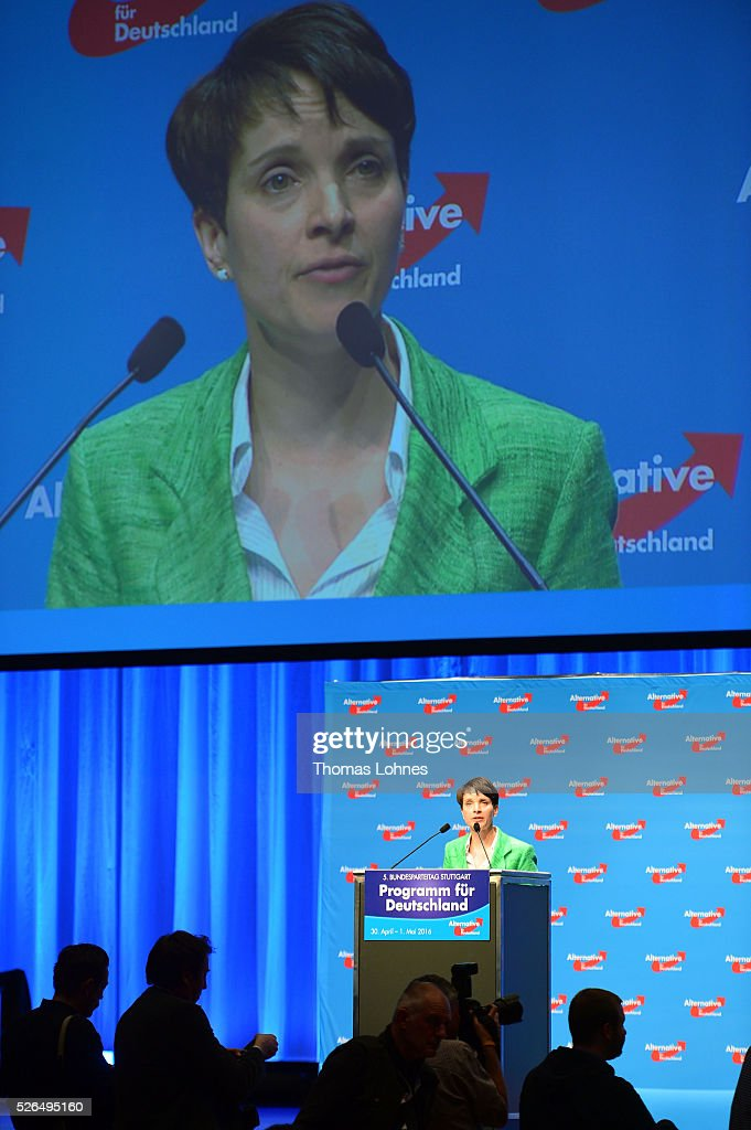 Frauke Petry, head of the Alternative fuer Deutschland (AfD) political party, speaks at the party's federal congress on April 30, 2016 in Stuttgart, Germany. The AfD, a relative newcomer to the German political landscape, has emerged from Euro-sceptic conservatism towards a more right-wing leaning appeal based in large part on opposition to Germany's generous refugees and migrants policy. Since winning seats in March elections in three German state parliaments the party has sharpened its tone, calling for a ban on minarets and claiming that Islam does not belong in Germany.