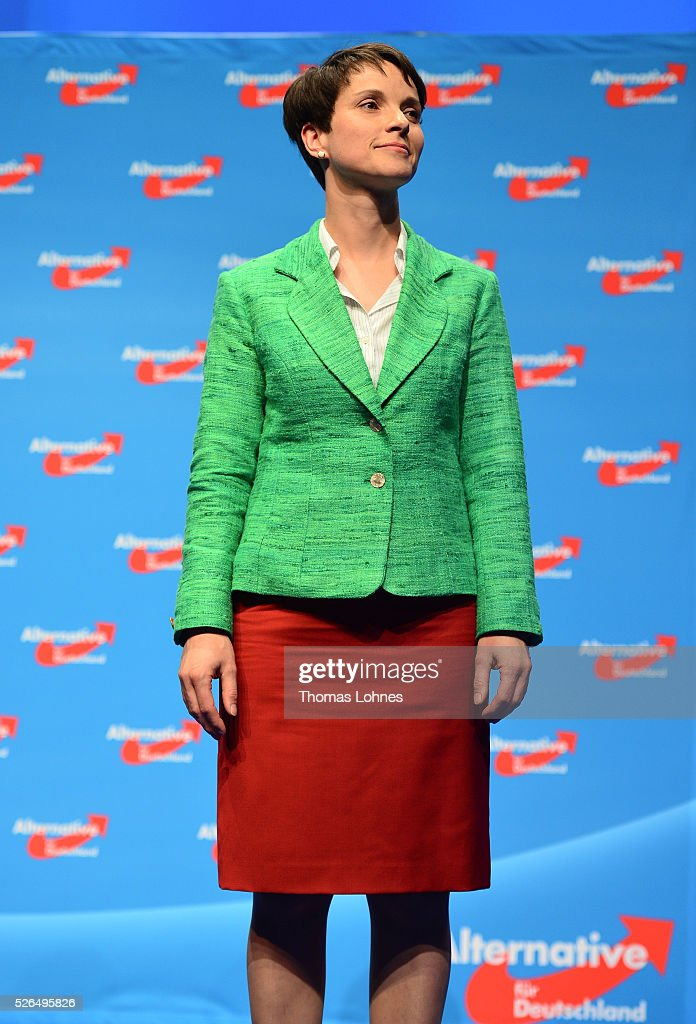 Frauke Petry, head of the Alternative fuer Deutschland (AfD) political party, looks to the delegates after her speech at the party's federal congress on April 30, 2016 in Stuttgart, Germany. The AfD, a relative newcomer to the German political landscape, has emerged from Euro-sceptic conservatism towards a more right-wing leaning appeal based in large part on opposition to Germany's generous refugees and migrants policy. Since winning seats in March elections in three German state parliaments the party has sharpened its tone, calling for a ban on minarets and claiming that Islam does not belong in Germany.