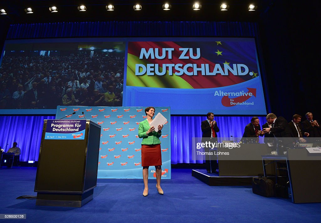 Frauke Petry, head of the Alternative fuer Deutschland (AfD) political party, reacts after her speech at the party's federal congress on April 30, 2016 in Stuttgart, Germany. The AfD, a relative newcomer to the German political landscape, has emerged from Euro-sceptic conservatism towards a more right-wing leaning appeal based in large part on opposition to Germany's generous refugees and migrants policy. Since winning seats in March elections in three German state parliaments the party has sharpened its tone, calling for a ban on minarets and claiming that Islam does not belong in Germany.