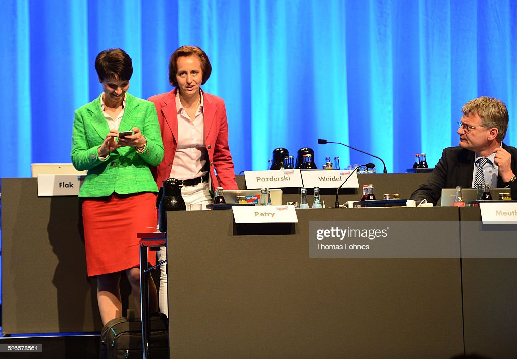Frauke Petry (L), head of the Alternative fuer Deutschland (AfD) political party, AfD co-deputy head Beatrix von Storch (C) and AFD co-leader Joerg Meuthen (R) pictured at the party's federal congress on April 30, 2016 in Stuttgart, Germany. The AfD, a relative newcomer to the German political landscape, has emerged from Euro-sceptic conservatism towards a more right-wing leaning appeal based in large part on opposition to Germany's generous refugees and migrants policy. Since winning seats in March elections in three German state parliaments the party has sharpened its tone, calling for a ban on minarets and claiming that Islam does not belong in Germany.