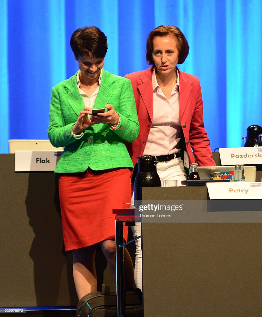 Frauke Petry (L), head of the Alternative fuer Deutschland (AfD) political party, and AfD co-deputy head Beatrix von Storch (R) pictured at the party's federal congress on April 30, 2016 in Stuttgart, Germany. The AfD, a relative newcomer to the German political landscape, has emerged from Euro-sceptic conservatism towards a more right-wing leaning appeal based in large part on opposition to Germany's generous refugees and migrants policy. Since winning seats in March elections in three German state parliaments the party has sharpened its tone, calling for a ban on minarets and claiming that Islam does not belong in Germany.