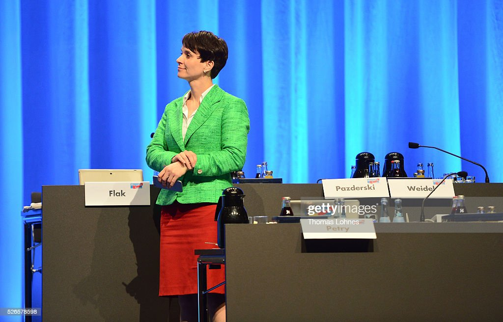 Frauke Petry, head of the Alternative fuer Deutschland (AfD) political party, pictured at the party's federal congress on April 30, 2016 in Stuttgart, Germany. The AfD, a relative newcomer to the German political landscape, has emerged from Euro-sceptic conservatism towards a more right-wing leaning appeal based in large part on opposition to Germany's generous refugees and migrants policy. Since winning seats in March elections in three German state parliaments the party has sharpened its tone, calling for a ban on minarets and claiming that Islam does not belong in Germany.