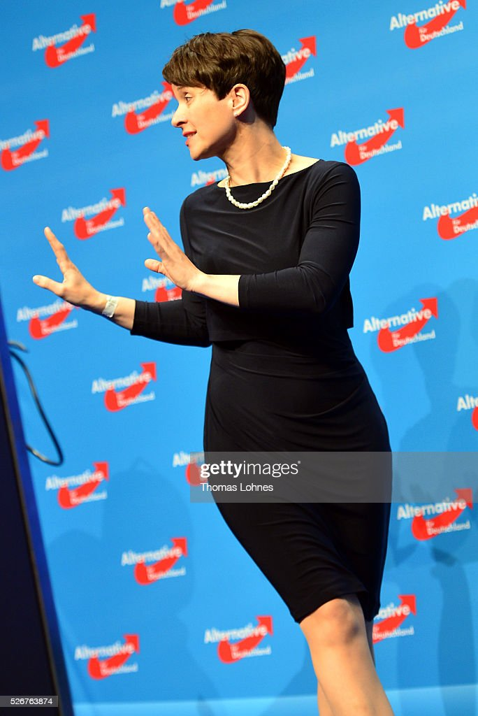 Frauke Petry, head of the Alternative fuer Deutschland (AfD) political party pictured at the party's federal congress on May 01, 2016 in Stuttgart, Germany. The AfD, a relative newcomer to the German political landscape, has emerged from Euro-sceptic conservatism towards a more right-wing leaning appeal based in large part on opposition to Germany's generous refugees and migrants policy. Since winning seats in March elections in three German state parliaments the party has sharpened its tone, calling for a ban on minarets and claiming that Islam does not belong in Germany.