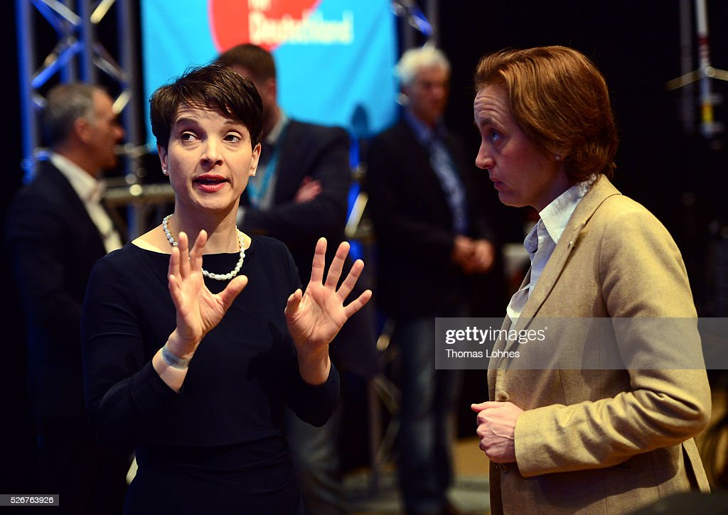 Frauke Petry (L), head of the Alternative fuer Deutschland (AfD) political party, and AfD co-deputy head Beatrix von Storch diskuss at the party's federal congress on May 01, 2016 in Stuttgart, Germany. The AfD, a relative newcomer to the German political landscape, has emerged from Euro-sceptic conservatism towards a more right-wing leaning appeal based in large part on opposition to Germany's generous refugees and migrants policy. Since winning seats in March elections in three German state parliaments the party has sharpened its tone, calling for a ban on minarets and claiming that Islam does not belong in Germany.
