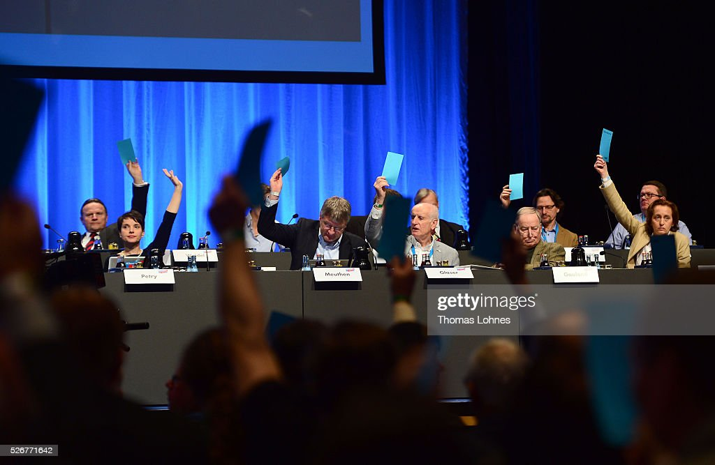 Frauke Petry (2-L), head of the Alternative fuer Deutschland (AfD) political party, the executive committee and delegates vote at the Alternative for Germany (AfD) at the party's federal congress on May 01, 2016 in Stuttgart, Germany. The AfD, a relative newcomer to the German political landscape, has emerged from Euro-sceptic conservatism towards a more right-wing leaning appeal based in large part on opposition to Germany's generous refugees and migrants policy. Since winning seats in March elections in three German state parliaments the party has sharpened its tone, calling for a ban on minarets and claiming that Islam does not belong in Germany.