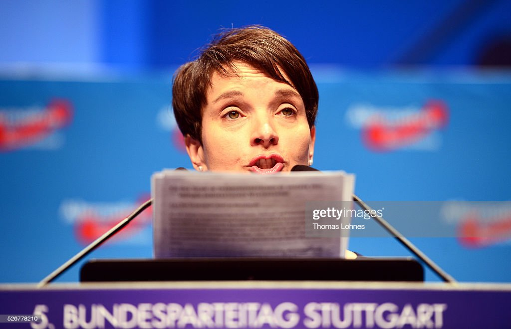 Frauke Petry, head of the Alternative fuer Deutschland (AfD) political party speaks at the party's federal congress on May 01, 2016 in Stuttgart, Germany. The AfD, a relative newcomer to the German political landscape, has emerged from Euro-sceptic conservatism towards a more right-wing leaning appeal based in large part on opposition to Germany's generous refugees and migrants policy. Since winning seats in March elections in three German state parliaments the party has sharpened its tone, calling for a ban on minarets and claiming that Islam does not belong in Germany.