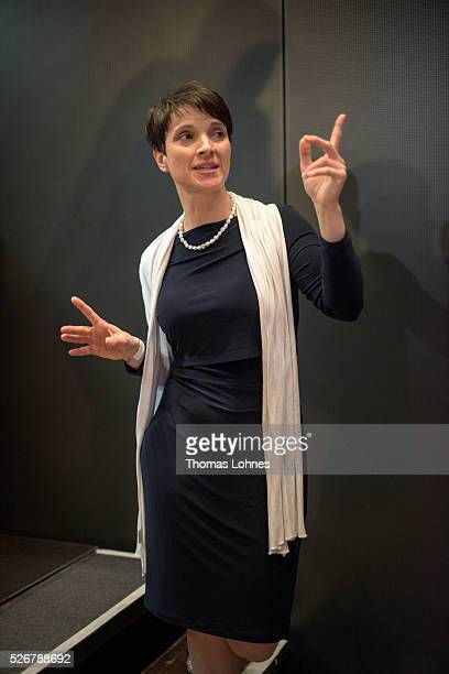 Frauke Petry head of the Alternative fuer Deutschland political party pictured at the party's federal congress on May 01 2016 in Stuttgart Germany...