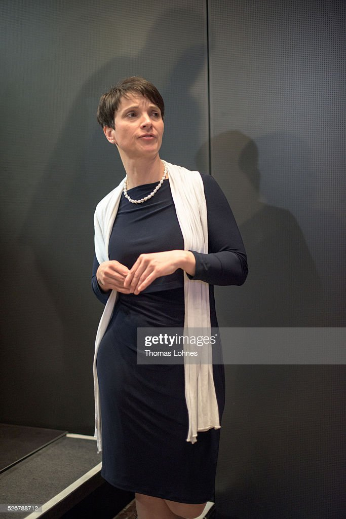 <a gi-track='captionPersonalityLinkClicked' href=/galleries/search?phrase=Frauke+Petry&family=editorial&specificpeople=10828161 ng-click='$event.stopPropagation()'>Frauke Petry</a>, head of the Alternative fuer Deutschland (AfD) political party, pictured at the party's federal congress on May 01, 2016 in Stuttgart, Germany. The AfD, a relative newcomer to the German political landscape, has emerged from Euro-sceptic conservatism towards a more right-wing leaning appeal based in large part on opposition to Germany's generous refugees and migrants policy. Since winning seats in March elections in three German state parliaments the party has sharpened its tone, calling for a ban on minarets and claiming that Islam does not belong in Germany.