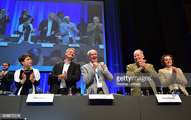 Frauke Petry head of the Alternative fuer Deutschland political party and the party board Joerg Meuthen Albrecht Glaser Alexander Gauland and Beatrix...