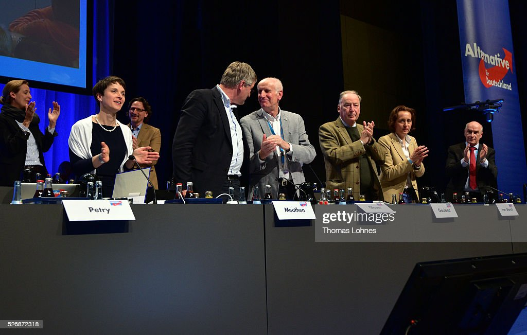 <a gi-track='captionPersonalityLinkClicked' href=/galleries/search?phrase=Frauke+Petry&family=editorial&specificpeople=10828161 ng-click='$event.stopPropagation()'>Frauke Petry</a> (2-L), head of the Alternative fuer Deutschland (AfD) political party, and the party board Joerg Meuthen, Albrecht Glaser, Alexander Gauland, Beatrix von Storch and Klaus Fohrmann (L-R) celebrate at the end of the party's federal congress on May 01, 2016 in Stuttgart, Germany. A server of the party had been hacked by a left political group and the addresses of AfD members has been published. The AfD, a relative newcomer to the German political landscape, has emerged from Euro-sceptic conservatism towards a more right-wing leaning appeal based in large part on opposition to Germany's generous refugees and migrants policy. Since winning seats in March elections in three German state parliaments the party has sharpened its tone, calling for a ban on minarets and claiming that Islam does not belong in Germany.