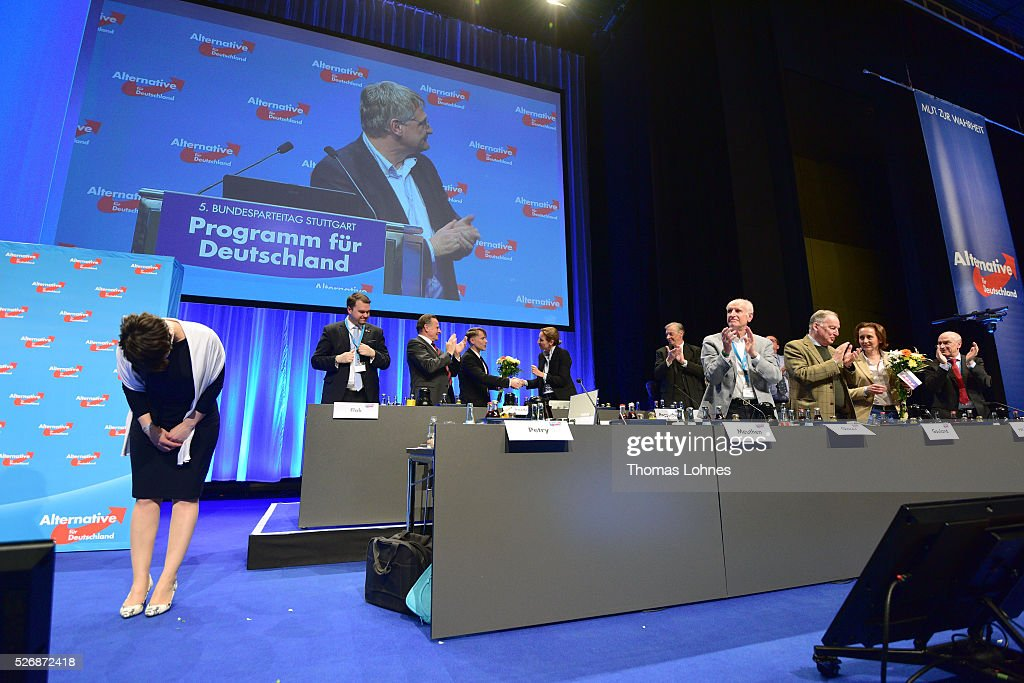 <a gi-track='captionPersonalityLinkClicked' href=/galleries/search?phrase=Frauke+Petry&family=editorial&specificpeople=10828161 ng-click='$event.stopPropagation()'>Frauke Petry</a> (L), head of the Alternative fuer Deutschland (AfD) political party, and the party board celebrate at the end of the party's federal congress on May 01, 2016 in Stuttgart, Germany. A server of the party had been hacked by a left political group and the addresses of AfD members has been published. The AfD, a relative newcomer to the German political landscape, has emerged from Euro-sceptic conservatism towards a more right-wing leaning appeal based in large part on opposition to Germany's generous refugees and migrants policy. Since winning seats in March elections in three German state parliaments the party has sharpened its tone, calling for a ban on minarets and claiming that Islam does not belong in Germany.