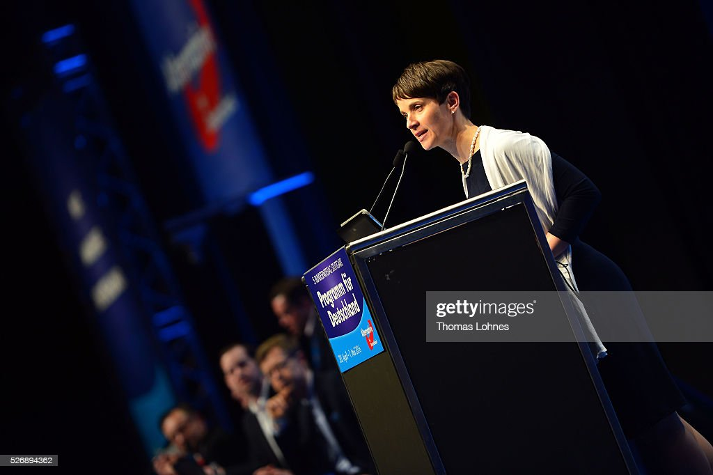 <a gi-track='captionPersonalityLinkClicked' href=/galleries/search?phrase=Frauke+Petry&family=editorial&specificpeople=10828161 ng-click='$event.stopPropagation()'>Frauke Petry</a>, head of the Alternative fuer Deutschland (AfD) political party, speaks the delegates at the end of the party's federal congress on May 01, 2016 in Stuttgart, Germany. A server of the party had been hacked by a left political group and the addresses of AfD members has been published. The AfD, a relative newcomer to the German political landscape, has emerged from Euro-sceptic conservatism towards a more right-wing leaning appeal based in large part on opposition to Germany's generous refugees and migrants policy. Since winning seats in March elections in three German state parliaments the party has sharpened its tone, calling for a ban on minarets and claiming that Islam does not belong in Germany.