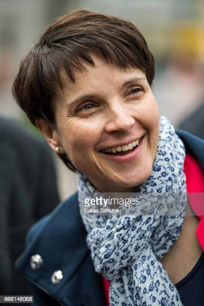 Frauke Petry head of the Alternative fuer Deutschland rightwing populist political party attends the AfD election campaign launch event for state...