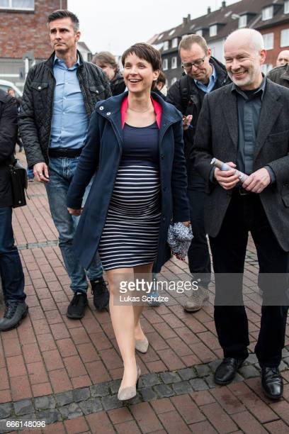 Frauke Petry head of the Alternative fuer Deutschland rightwing populist political party arrives to the AfD election campaign launch event for state...