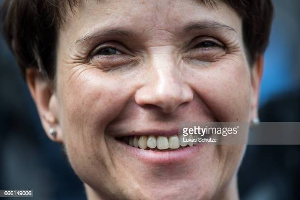 Frauke Petry head of the Alternative fuer Deutschland rightwing populist political party smiles during the AfD election campaign launch event for...