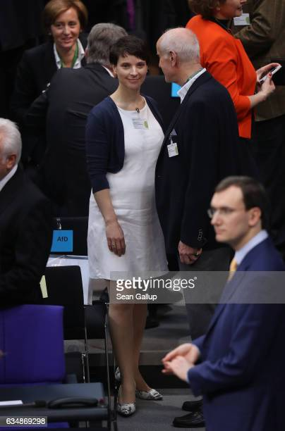 Frauke Petry head of the rightwing populist Alternative for Germany political party attends the election of the new president of Germany by the...