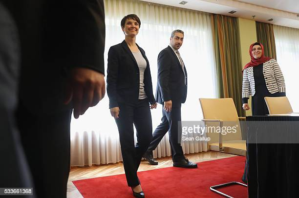 Frauke Petry head of the rightwing populist Alternative fuer Deutschland political party arrives to meet with reprentatives of the Central Council of...
