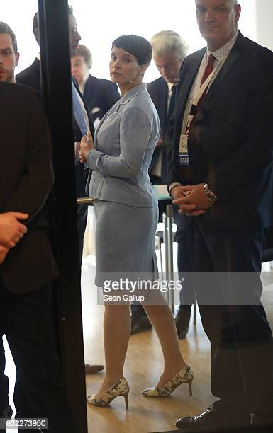 Frauke Petry leader of the Alternative for Germany political party and Geert Wilders leader of the Dutch PVV political party arrive for a conference...
