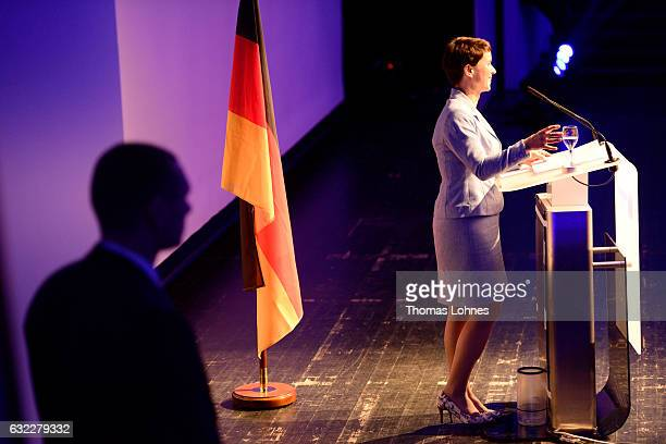Frauke Petry leader of the Alternative fuer Deutschland political party speaks at a conference of European rightwing parties on January 21 2017 in...